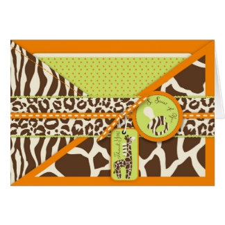 Safari Giraffe Pacifier Thank You Card