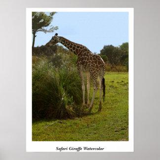 Safari Giraffe Watercolor Print