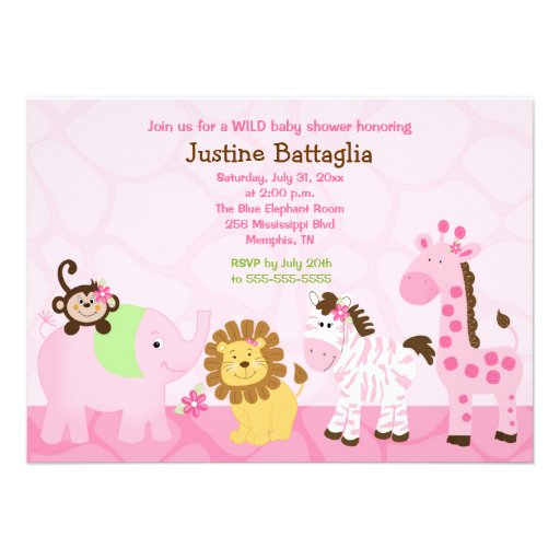Safari Girl Customized Baby Shower Invitation