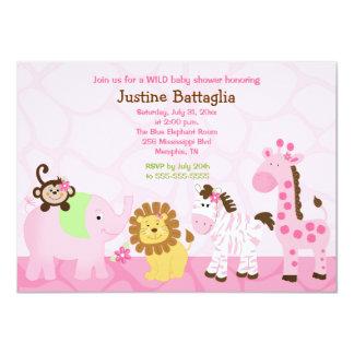 "Safari Girl Customized Baby Shower Invitation 4.5"" X 6.25"" Invitation Card"