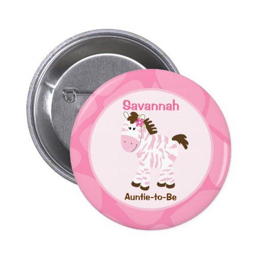 Safari Girl Customized Name Tag Pink Zebra Button