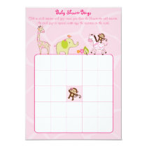 Safari Girl Jungle Animal Baby Bingo Cards