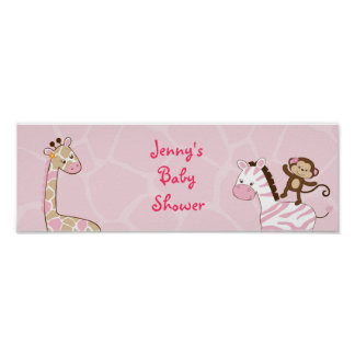 Safari Girl Jungle Animal Baby Shower Banner Sign Poster