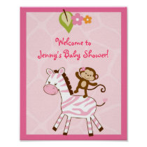 Safari Girl Jungle Animal Baby Shower Sign