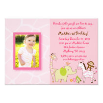 Safari Girl Jungle Animal Birthday Invitations