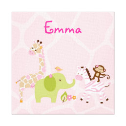 Safari Girl Jungle Animal Canvas Nursery Wall Art