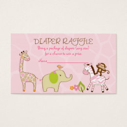 Safari Girl Jungle Animal Diaper Raffle Tickets