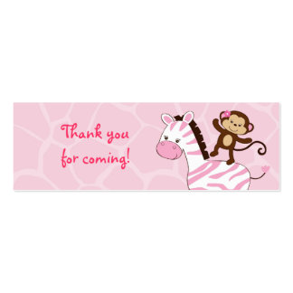 Safari Girl Jungle Animal Favor Gift Tags Double-Sided Mini Business Cards (Pack Of 20)