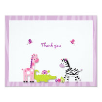 Safari Girl Jungle Animal Thank You Note Cards