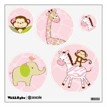Safari Girl Jungle Animal Wall Stickers Decals