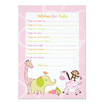 Safari Girl Jungle Animal Wishes for Baby Card