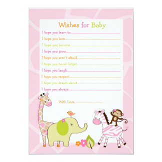 Safari Girl Jungle Animal Wishes for Baby Card Personalized Invites