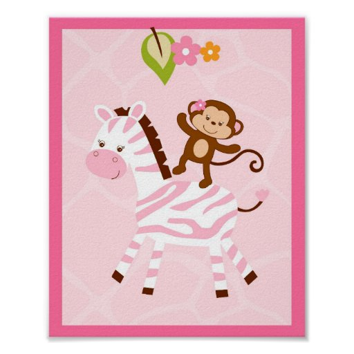 Safari Girl Jungle Monkey Nursery Wall Print