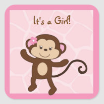 Safari Girl Jungle Monkey Stickers Envelope Seals