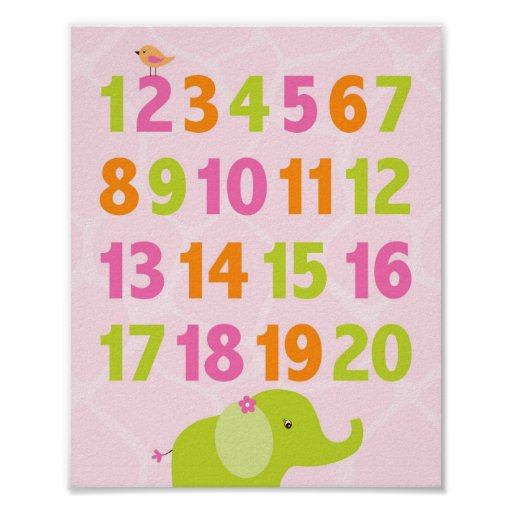 Safari Girl Jungle Number Nursery Wall Print