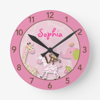 Safari Girl Jungle Personalized Nursery Wall Clock