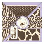 """Safari Girl LAV Invitation Square 2 5.25"""" Square Invitation Card"""
