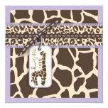 """Safari Girl LAV Invitation Square B 5.25"""" Square Invitation Card"""
