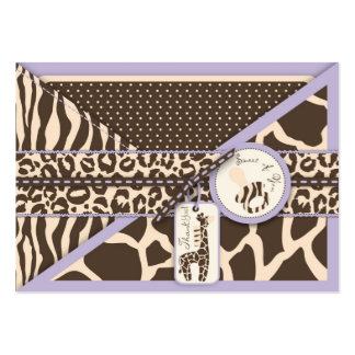 Safari Girl LAV TY Gift Tag 2 Large Business Cards (Pack Of 100)