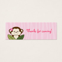 Safari Girl Monkey Baby Shower Favor Gift Tags
