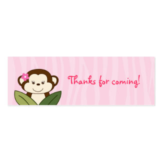Safari Girl Monkey Baby Shower Favor Gift Tags Double-Sided Mini Business Cards (Pack Of 20)