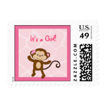 Safari Girl Monkey Postage Stamps