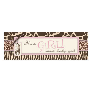 Safari Girl Skinny Gift Tag Double-Sided Mini Business Cards (Pack Of 20)