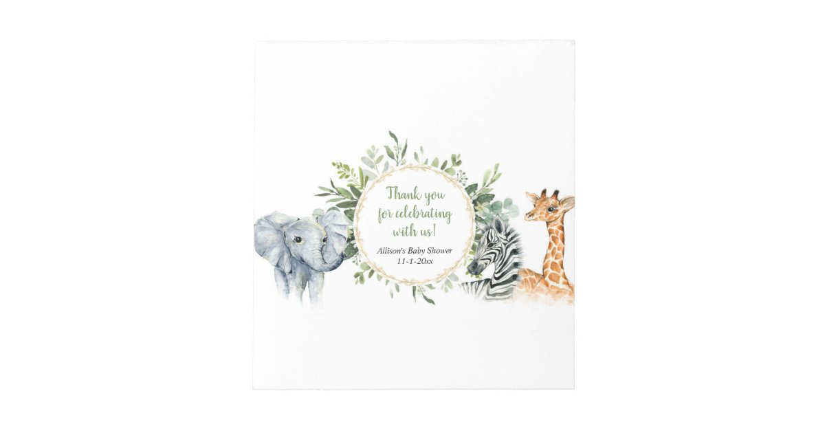 Safari greenery baby shower candy bar wrappers notepad