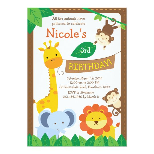 safari invitation / jungle invitation / zoo invite | zazzle, Birthday invitations