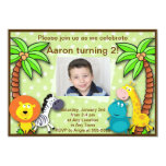 "Safari Jungle Animal Birthday or Shower Invitation 5"" X 7"" Invitation Card"