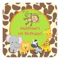 Safari Jungle Animal Birthday party favor stickers