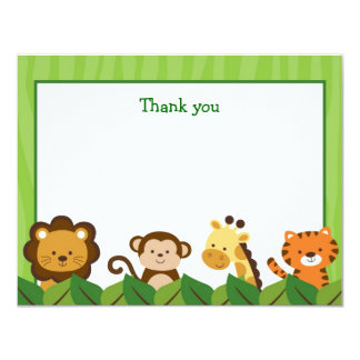 Safari Jungle Animal Flat Thank You Note Cards
