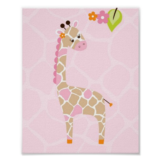 Safari Jungle Animal Giraffe Nursery Wall Print