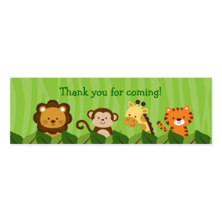 Safari Jungle Animal Goodie Bag Tags Gift Tags Double-Sided Mini Business Cards (Pack Of 20)