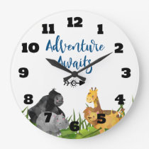 Safari Jungle Animal Illustration Adventure Awaits Large Clock