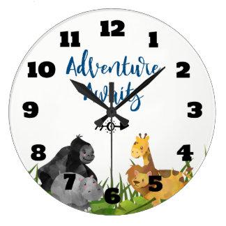 Safari Jungle Animal Illustration Adventure Awaits Large Clock