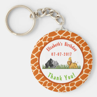 Safari Jungle Animal Illustration Birthday Thanks Keychain