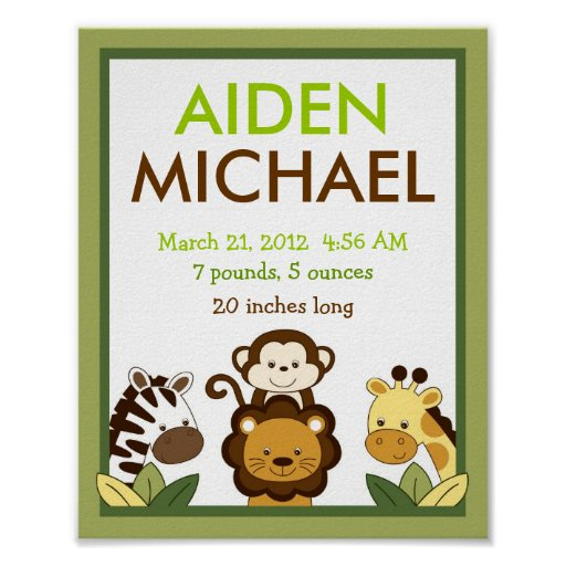 Safari Jungle Animal Nursery Wall Art Birth Print