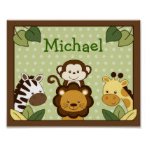 Safari Jungle Animal Nursery Wall Art Name Print