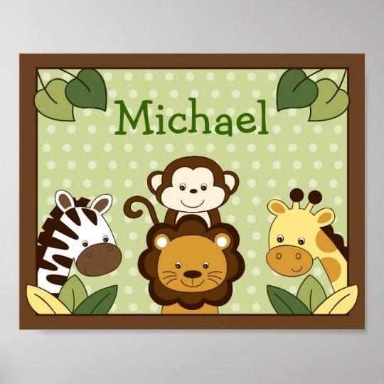 Safari Nursery Decor Jungle Theme Nursery Nursery Artwork: Safari Jungle Animal Nursery Wall Art Name Print