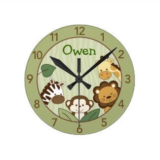 Safari Jungle Animal Personalized Wall Clock