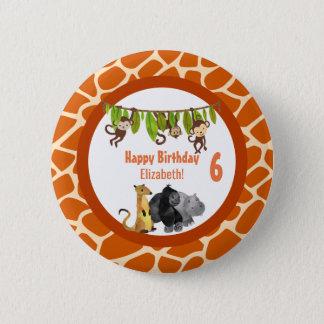 Safari Jungle Animal Theme Birthday Pinback Button