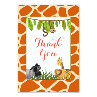 Safari Jungle Animal Theme Party Thank You Card