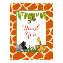 Safari Jungle Animal Theme Party Thank You Postcard