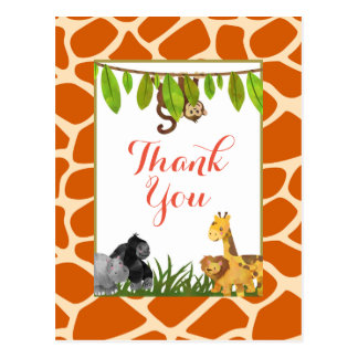 Safari Jungle Animal Theme Party Thank You Postcard