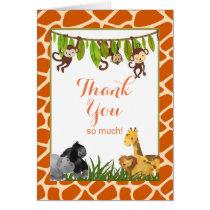 Safari Jungle Animal Theme Thank You Card