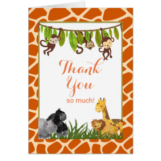 Safari Jungle Animal Theme Thank You Card
