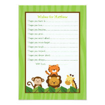 Safari Jungle Animal Wishes for Baby Card