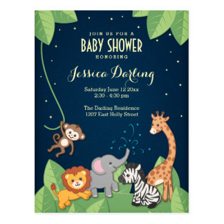 Safari Jungle Animals Adorable Baby Shower Postcard