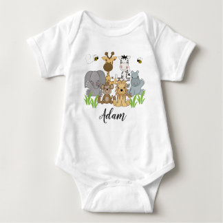 Safari Jungle Animals Baby Kids Name Baby Bodysuit